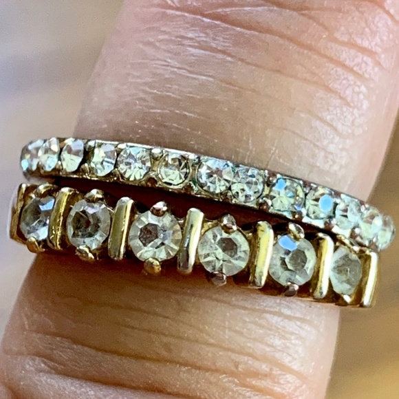 Jewelry - Set of 2 Faux Diamond Bands Rings Sz 6